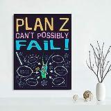 Xlcsomf Póster, diseño de Bob Esponja SquarePants para cocina, 50 x 71 cm, diseño de película Pop Art Plan Z con cita en Z, decoración de dormitorio, sin marco