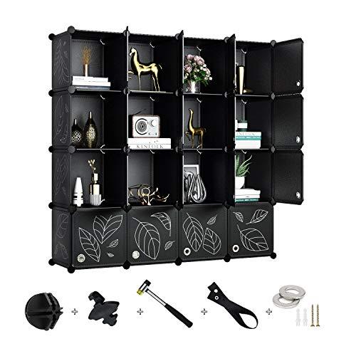 Greenstell 16 Cubos Organizadores para Almacenamiento con Puertas, Estantes de Plástico Apilables DIY, Multifuncionales, Modulares, Estantería de Armario para Libros, Ropa(Negro con Puerta)