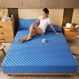 Nuoxuan Luxury Bed Sheets Extra Soft,Polyester Quilted Solid Color Twill Thick Non-Slip Simple Bed Linen Set,Apartment Bedroom Bedding-Blue_150x200cm+25cm(3pcs)