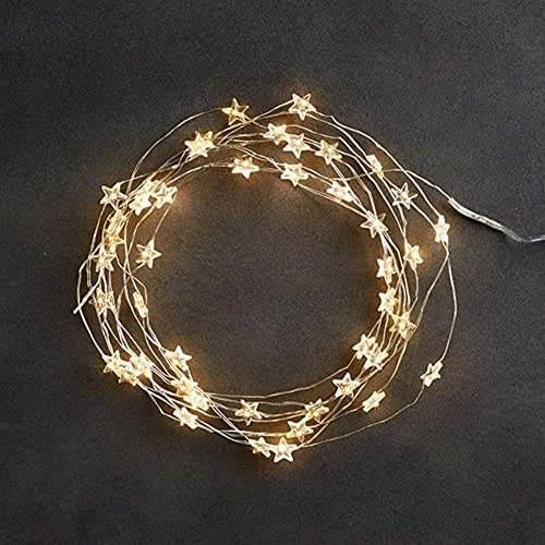 Fairy String String Lights Decoration Lights LED 60 Star Fairy Lights Battery Operated On 10ft Long Silver Color Copper Wire String Lights For Outdoor Indoor Party Use
