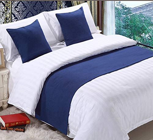 Mengersi Solid Bed Runner Scarf Protector Slipcover Bed Decorative Scarf for Bedroom Hotel Wedding Room (Full/Queen, Navy)