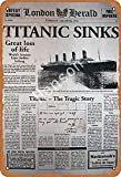 Titanic Sinks Old Newspaper Tin Sign Wall Metal Retro Craft Art Painting Iron Plate Office Garden Living Room Decoration Warning Poster 20x30