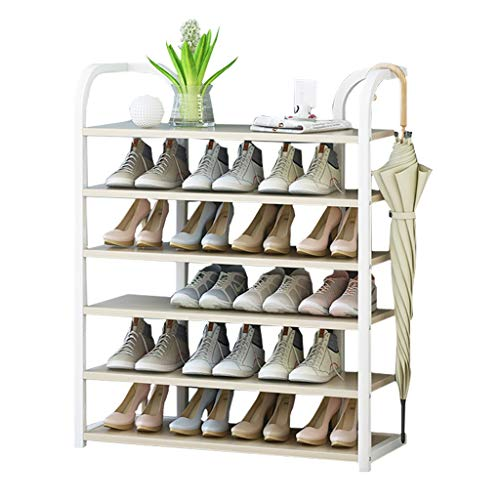 Zapatera Herraje de entrada de herrajes Estante de almacenamiento de 6 pisos for el hogar ahorra espacio for el dormitorio familiar Torre organizadora de almacenamiento de zapatos ( Color : White )