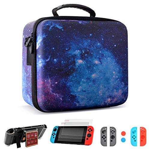 Carrying Storage Case for Nintendo Switch with 21 Card Inserts, Deluxe Travel Carrying Case for Nintendo Switch Console & Accessories-Starry Pattern