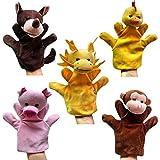 Happy Cherry - (Set de 5 Marionetas Juguetes Juegos de Manos Dedos de Animal Peluche para Bebés Niños niñas Cuentacuentos - Lobo / Gallina / Cerdo / Mono / Dragón