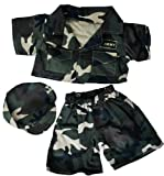 Army Green w/Cap Teddy Bear Clothes Fits Most 14'-18' Build-A-Bear and Make Your Own Stuffed Animals