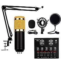 ミキサー録音用コンデンサーマイクセット、メタルショックマウント、スタジオ録音&放送用、録音用、生放送用、カラオケ歌唱用