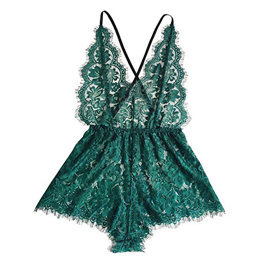 Lace Bodysuit for Women Sexy Eyelash Teddy Valentine's Day Lingerie Naughty Negligee Bodysuit Green