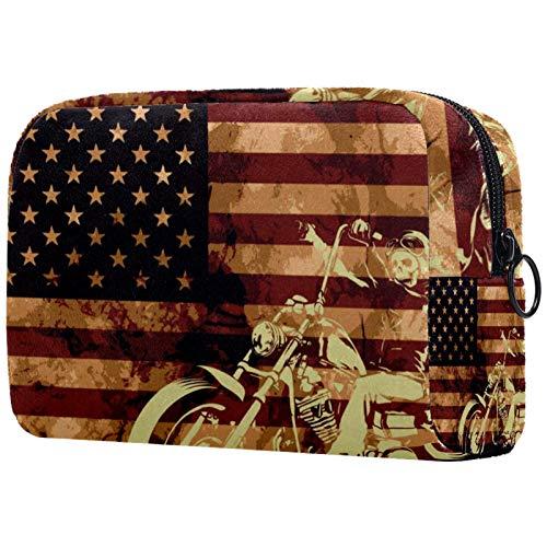 Bolsa de cosméticos para Mujeres Bandera Americana con cráneo de Motocicleta Bolsas de Maquillaje espaciosas Neceser de Viaje Organizador de Accesorios