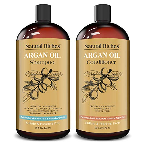 Natural Riches Moroccan Argan Oil Organic Shampoo & Conditioner Set Sulfate Free, Vitamin enriched Infused with Keratin. (2 x 16 Fl oz) Natural Riches