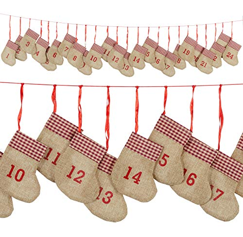 Heimtexland ® Adventskalender slinger hangend kerstslinger decoratie advent type 657 180 cm lichtbruin (Jute)