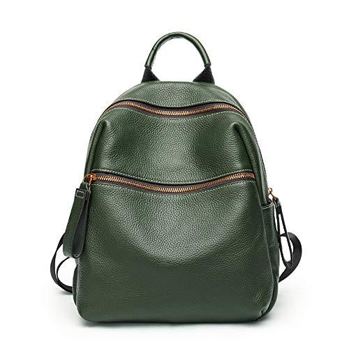 MSF-Des sacs Sac À Bandoulière en Cuir Ladies Fashion Large Capacité en Cuir Souple Voyage Sac À Dos College Wind Sac 29 × 14 × 31 CM (Color : Green)