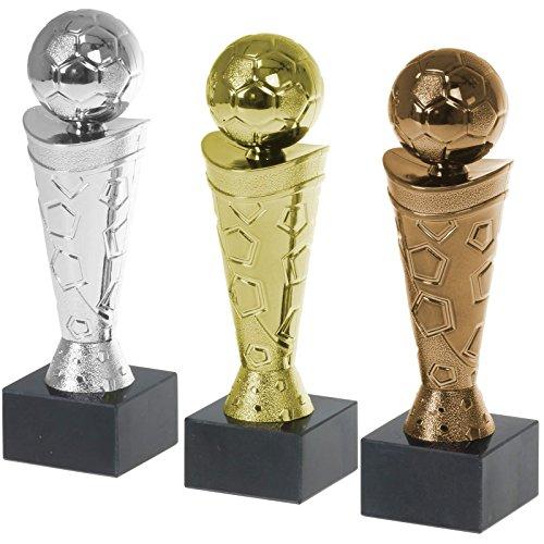 Pokalset Fußball Nizza Gold Silber und Bronze PVC Trophäe Figur 18cm hoch