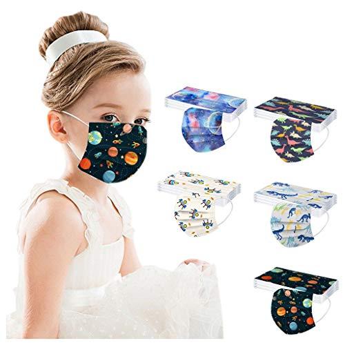 50 Pezzi Bambini Tessuto Viso Cotone Fashion Visiera Bocca Faccia USA e Getta 3 Strati per Bambino_Protezione Del Viso Antipolvere (F)