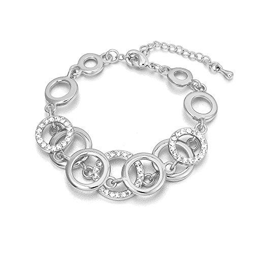 Armband für Frauen, Ringe Kettenarmband für Mädchen Gold und Silber überzogene Charm Armband Paare Freunde Armreif mit Kristall (Versilbert)