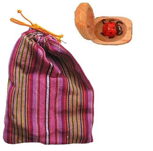 vendo 1 Glückskäfer, Marienkäfer aus Holz, Glücksbringer mit Beutel, Stoffsäckchen
