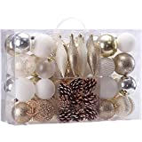 Sea Team 73 Pieces of Assorted Shatterproof Christmas Ball Ornaments Set Seasonal Decorative Hanging Ornament Set with Reusable Hand-held Gift Package for Holiday Xmas Tree Decorations (Gold & White)