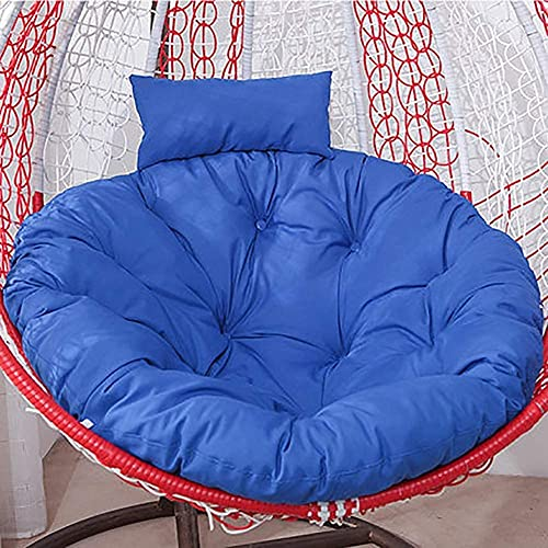 WSZYBAY Ratán redondo de mimbre, colgante de huevo, almohadillas de silla, botón sin deslizamiento, colgante, colgante, colgante, colgajilla, colchoneta, alfombra de silla (no incluye silla) azul oscu