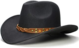 CHENDX High Quality Hat, Boy Girl Cowgirl Bowler Cap Kid Child Wool Wide Brim Cowboy Western Hat Turquoise Yellow Crystal Band Sun Hat Size 52-54Cm (Color : Black, Size : 52-54cm)
