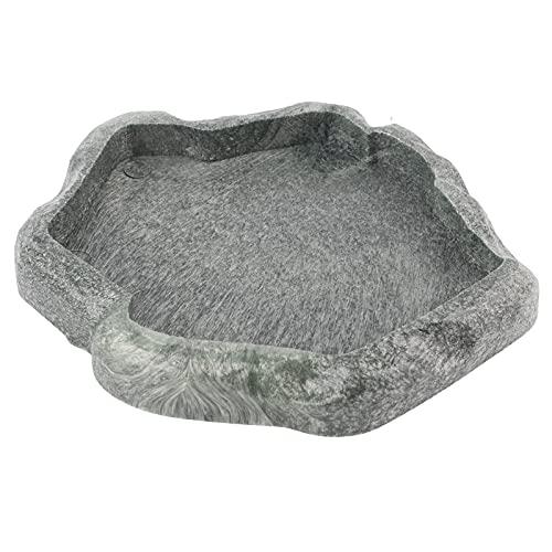 HEEPDD Ciotola per rettili, Resin Rock Rettile per Cibo e Acqua Piatto di terrario Ornamento Acquario Piatto per l'iguana del Camaleonte della Lucertola del Tartaruga(Verde Scuro S)