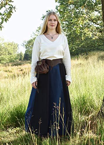 Mittelalterlicher Rock, weit ausgestellt aus schwerer Baumwolle Mittelalter LARP Wikinger Kostüm verschiedene Ausführungen (XXL, Schwarz/Blau) - 4