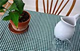 First Choice Vinyls - Waterproof Oilcloth Table Cloth - Wipeable Tablecloths for Picnic - Non-Fading Plastic Table Cover with Better Than Flannel Backing - Gingham Green (55x70in Rectangle)