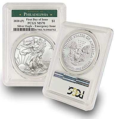 2020 Philadelphia Mint (P) Silver American Eagle MS-70 (First Day of Issue - Emergency Production) Green Label by CoinFolio $1 MS70 PCGS