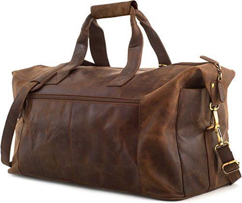 LEABAGS Reisetasche/Weekender/Reise Handgepäck/Bordgepäck/Kabinengröße/Cabin Size aus echtem Büffelleder - Vintage (Muskat)