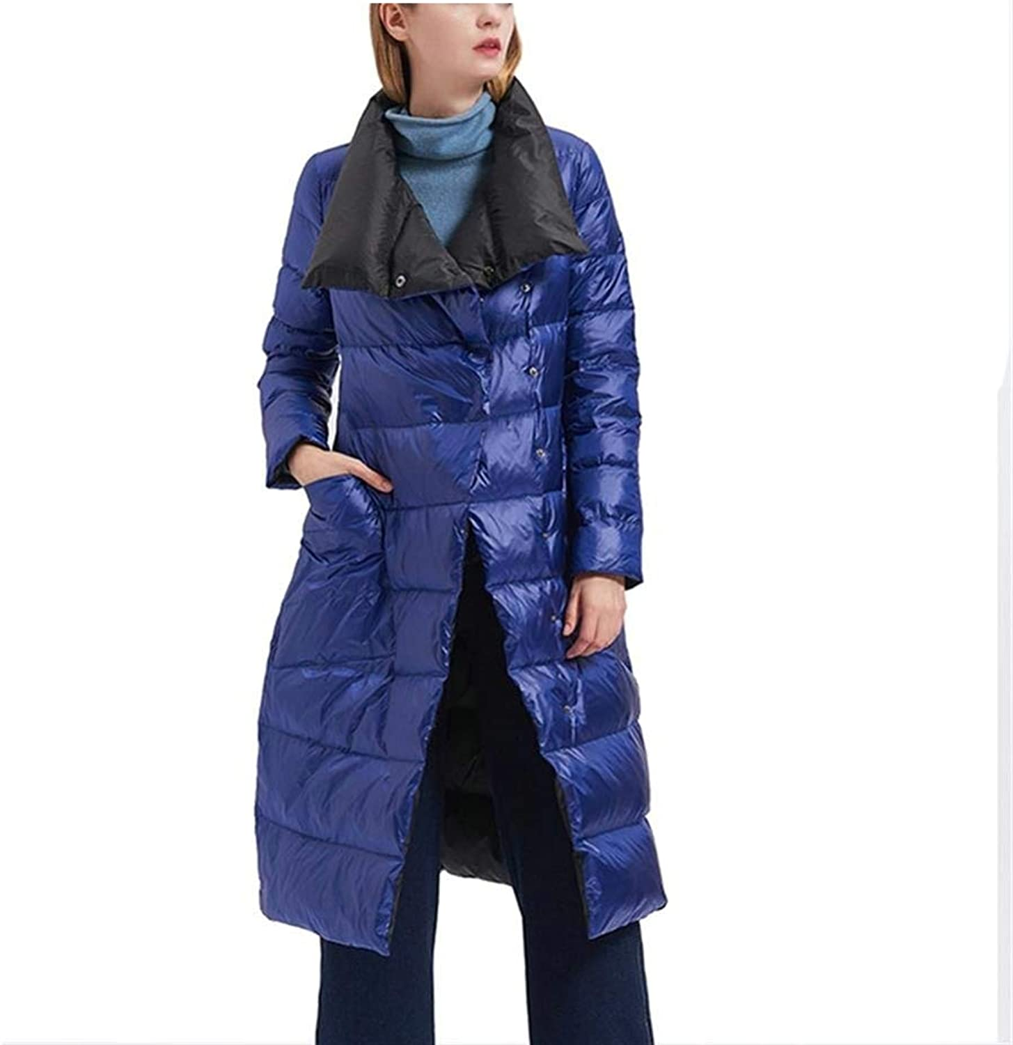 Dotoo 95% White Duck Down Women's Down Jacket Long DoubleSided Slim Slimming Warm