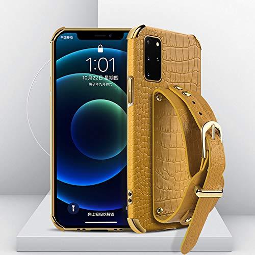 FOURTOC Funda Soporte para Samsung Galaxy S20/S20 Plus/S20 Ultra con Esquina Revestimiento Lujo Funda Protectora Antideslizante Pulsera Soporte Vertical y Horizontal Funda Cuero,Amarillo,S20