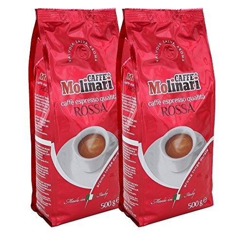 Caffè Molinari, ganze Bohne, 2er Pack (2 x 500 g) (Espresso 'Qualità Rossa' (2er Pack))