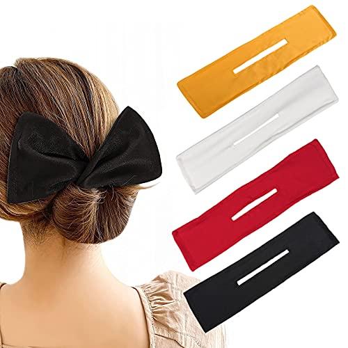 Juego de 4 moños para el pelo, diseño bohemio francés, para mujeres y niñas
