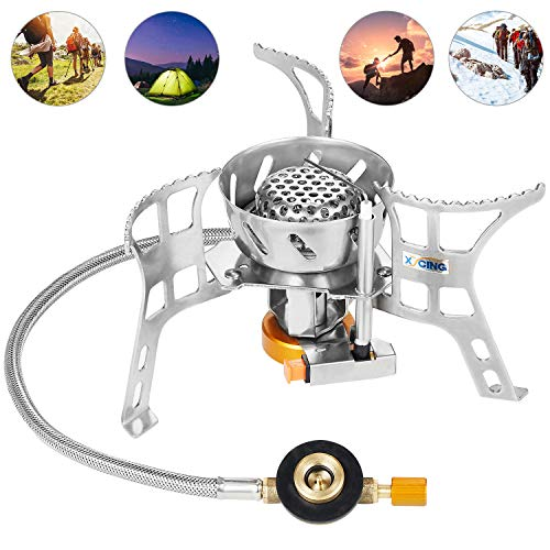 XYCING Foldable Camping Stove Portable Windproof Backpacking Stoves with Piezo Electronic Ignition, Ultralight Strong Firepower Gas Cooker for Outdoor Camp Kitchen Hiking Mountaineering Fishing