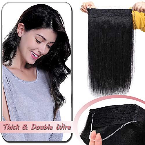 Extension Fil Invisible Cheveux Naturel Noir Maxi Volume - Rajout Cheveux Humain - DOUBLE FIL Transparent a Enfiler (#1 NOIR FONCE, 20\