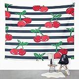 Y·JIANG Tapiz abstracto, diseño de cereza, dibujado a mano, linda fruta, decorativo para el hogar, dormitorio, 203 x 152 cm