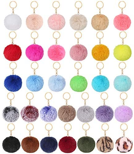 Auihiay 32 Pieces Pom Poms Keychain Fluffy Ball Key Chain Faux Rabbit Fur Pompoms Keyring for product image
