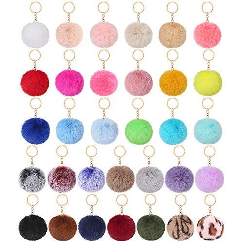Auihiay 32 Pieces Pom Poms Keychain Fluffy Ball Key Chain Faux Rabbit Fur Pompoms Keyring for Girls Women