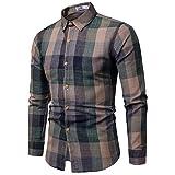 Camisas para Hombres, Camisa Informal De Algodón De Manga Larga para Hombres con Botones Completos a Cuadros...