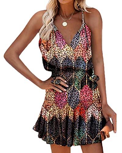 Onsoyours Robe Femme Ete 2021 Chic Mode Rétro Décontractée sans Manches Impression d'amour Plage Mini Robe Femme Grande Taille A Multicolore L