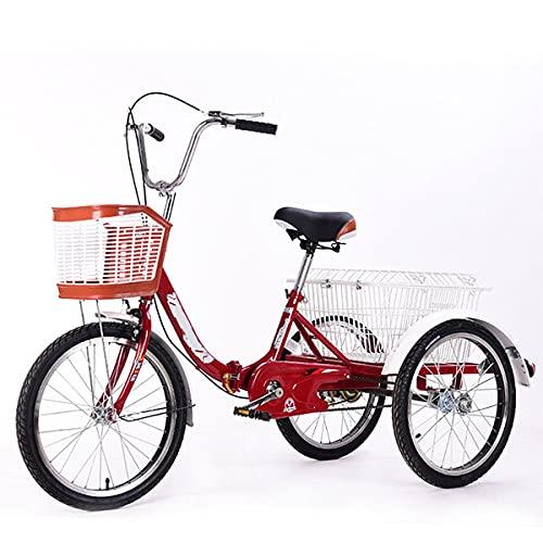 Triciclo para Adultos con Cestas, Bicicleta De Plegable con Marco De Aleación,Adecuado para Todos Los Amigos O Padres (Color : Wine Red)