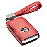 Vitodeco Genuine Leather Smart Key Fob Case Cover Protector with Leather Key Holder for 2019-2021 Mazda 3, Mazda 3 Hatchback, 2020-2021 Mazda CX-5, CX-30, CX-9 (4-Button, Red)
