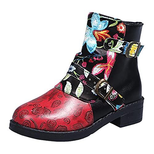 Fullwei Boots for Women,Women Vintage Steel Toe Low Heels Cowboy Booties Ladies Casual Western Cowgirl Side Zipper Combat Motorcycle Riding Boot (Black, 10)