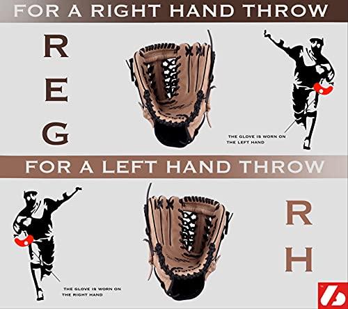 JL-120 REG schwarz Baseball Handschuh, Polyurethan, Infield/Outfield, Grösse 12 (für Rechtshänder, Wird an der linken Hand getragen)