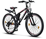 Licorne Bike Guide Vélo VTT haut de gamme pour filles, garçons, hommes et femmes Vélo avec dérailleur Shimano 21 vitesses, Fille Homme, Noir/rouge/gris, 26