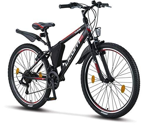 Licorne Bike Guide Bicicleta de montaña de 26 pulgadas, cambio Shimano de 21 velocidades, suspensión de horquilla, bicicleta infantil, bicicleta para niños y niñas, bolsa para cuadro,negro/rojo/gris