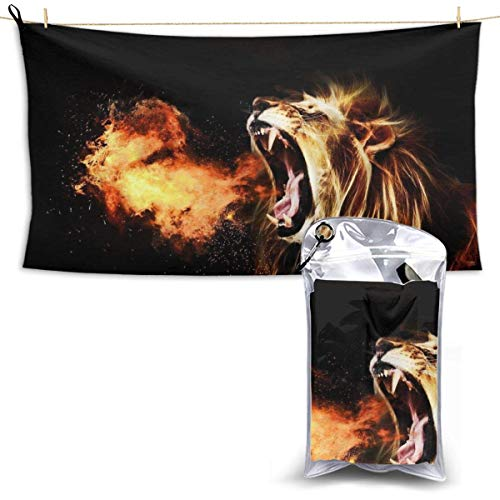XCNGG Quick Dry Bath Towel, Absorbent Soft Beach Towels, Fire Lion for Camping, Backpacking, Gym, Travelling, Swimming,Yoga 28.7'' X 51''