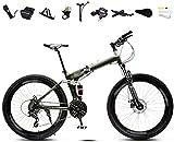 Bicicleta de 24 a 26 pulgadas, ligera, plegable, para hombre y mujer, 30 velocidades, velocidad variable, frenos dobles, color rojo, 26 y verde