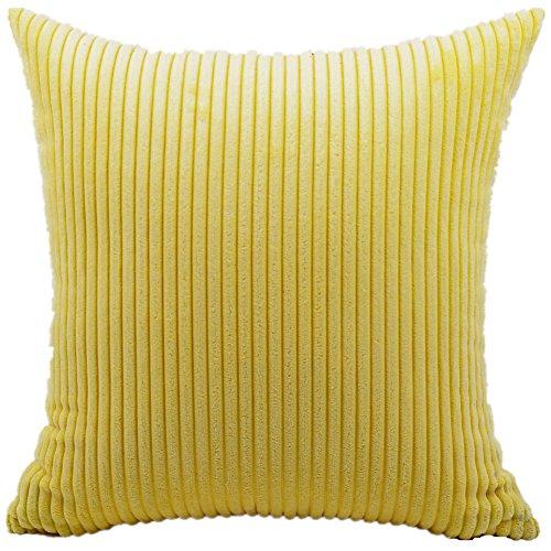 FEILEAH Striped Pana Funda de Cojine Funda de Almohada del Sofá Throw Cojín Decoración Almohada Caso de la Cubierta Decorativopara Sala de Estar 65X65cm 1 Piezas Amarillo