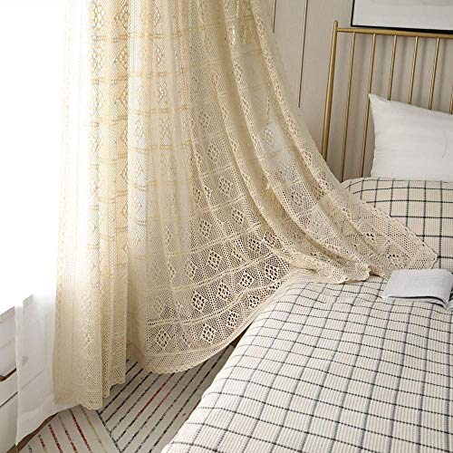 Gxi Retro Cotton Curtain Manual Crochet Drape for Wedding Bedroom American Rural Hollow Hook Pleat Curtain Window Treatment for Living Room, 1 Panel Natural Color W39 x L71 inch