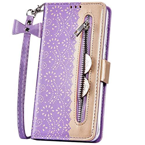 JAWSEU PU lederen portemonneehoesje Flip compatibel met iPhone 11 Paars